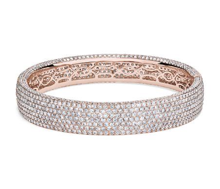 Diamond Pavé Bangle Bracelet in 18k Rose Gold (15 ct. tw.)