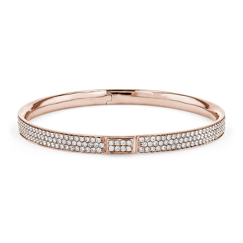 Diamond Pave Bangle Bracelet in 18k Rose Gold (5 ct. tw.)