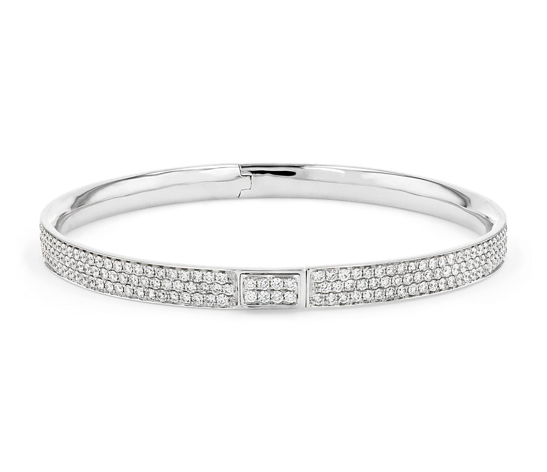 Diamond Pavé Bangle Bracelet in 18k White Gold (5 ct. tw.)