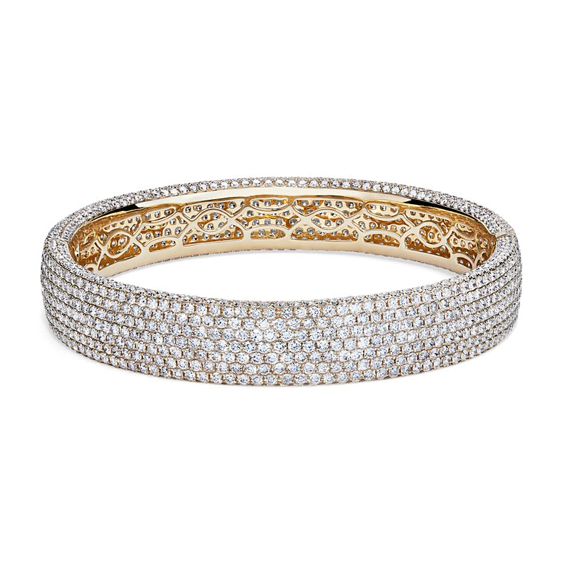 Diamond Pave Bangle Bracelet in 18K Yellow Gold
