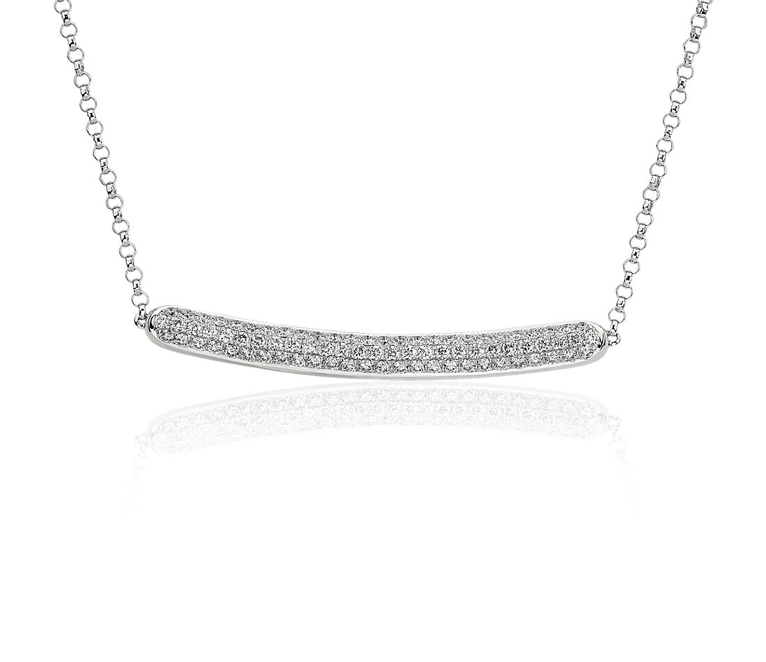 Diamond Pavé Bar Necklace in 14k White Gold (5/8 ct. tw.)