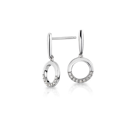 Diamond Circle Drop Earrings in 14k White Gold