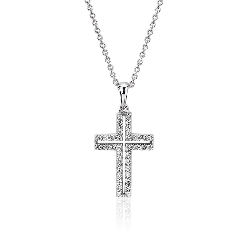 Diamond Pavé Cross Pendant in 14k White Gold (1/4 ct. tw.)
