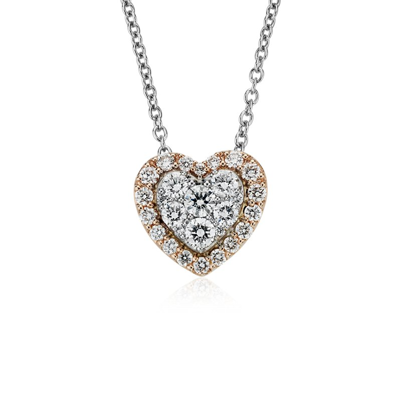 Diamond Heart Pavé Halo Pendant in 14k Rose and White Gold