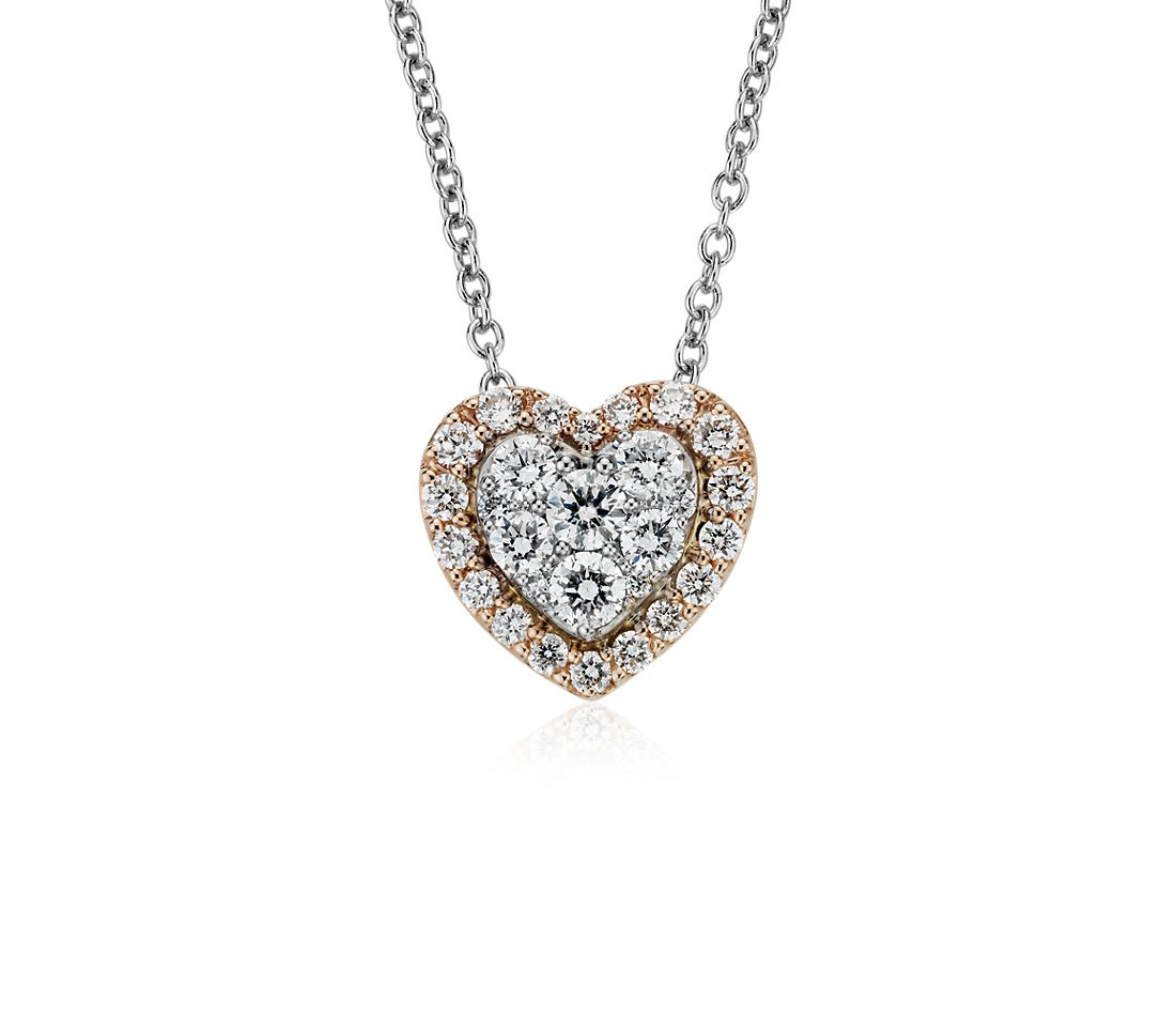 Diamond Heart Pavé Halo Pendant in 14k Rose and White Gold (1/3 ct. tw.)