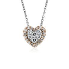 Pendentif diamants forme cœur sertis pavé avec halo en or rose et blanc 14carats (1/3carat, poids total)