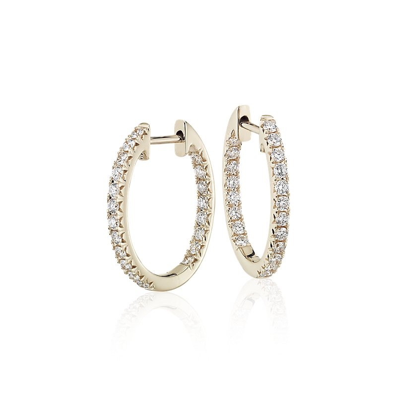 Diamond Pavé Hoop Earrings in 14k Yellow Gold (5/8 ct. tw.
