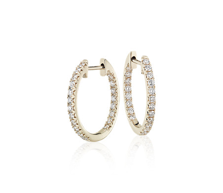 Diamond Pavé Hoop Earrings in 14k Yellow Gold (3/5 ct. tw.)