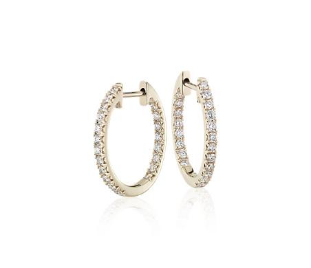 14k 金钻石密钉圈环形耳环<br>(3/5 克拉总重量)