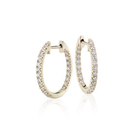 NEW Diamond Pavé Hoop Earrings in 14k Yellow Gold (3/5 ct. tw.)