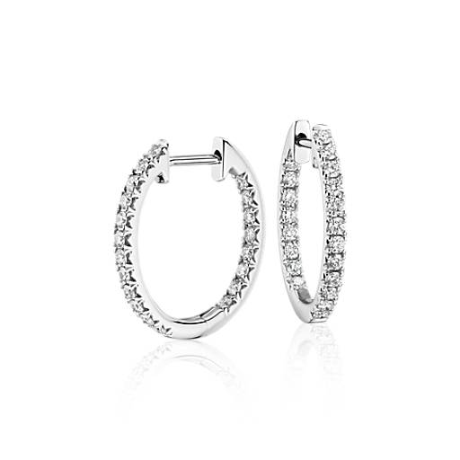 Diamond Pav 233 Hoop Earrings In 14k White Gold 5 8 Ct Tw
