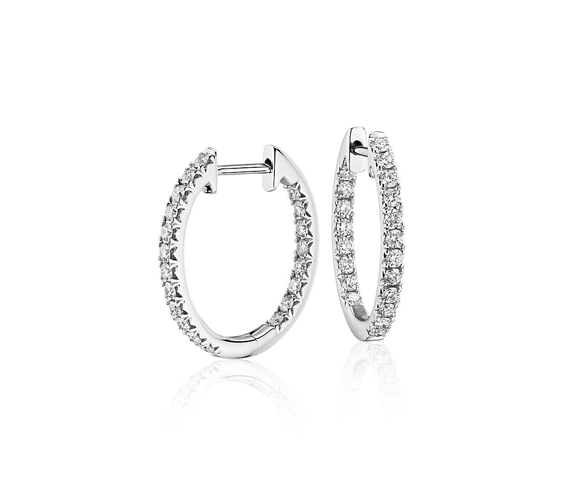 Diamond Pavé Hoop Earrings in 14k White Gold (3/5 ct. tw.)