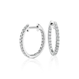 NEW Diamond Pavé Hoop Earrings in 14k White Gold (3/5 ct. tw.)