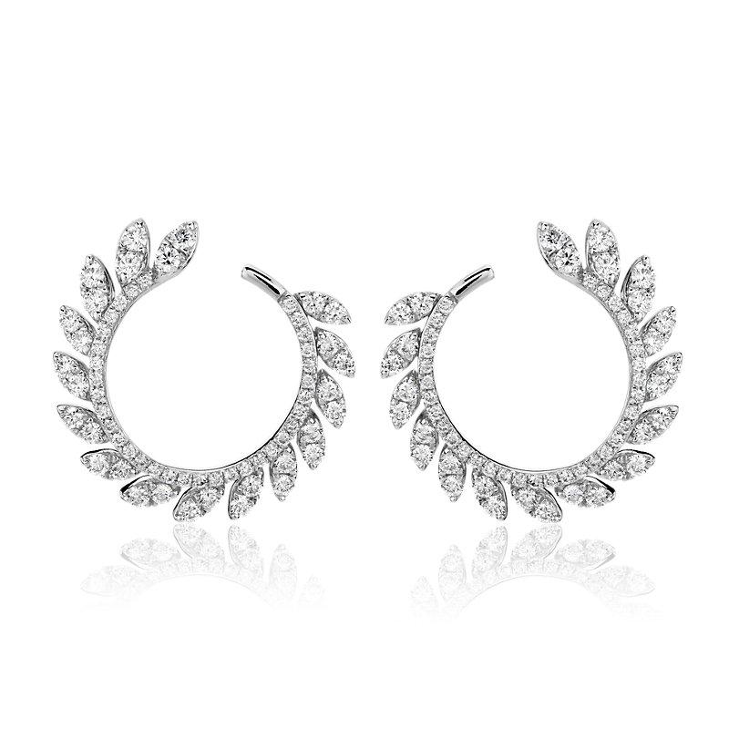 Diamond Pave Leaf Hoop Earrings in 14k White Gold (7/8 ct. tw.)