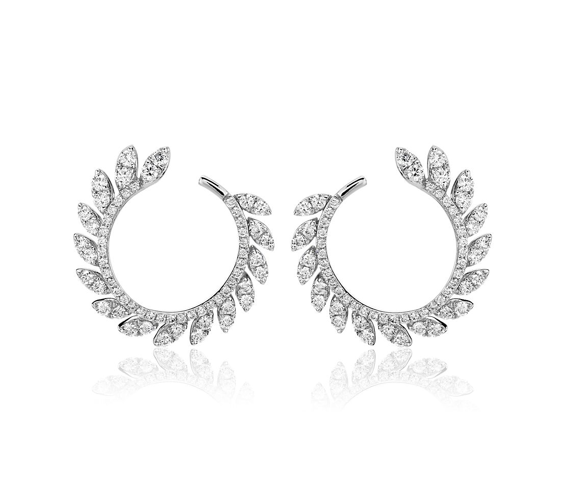Diamond Pave Leaf Hoop Earrings in 14k White Gold (7/8 ct. tw.)