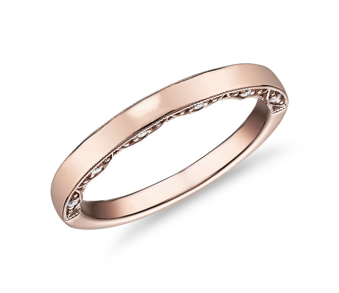 Diamond Pave and Milgrain Profile Wedding Ring in 14k Rose Gold