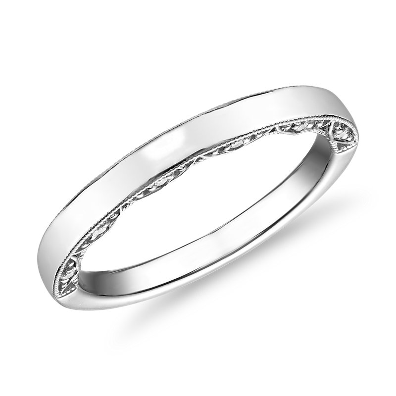 Diamond Pave and Milgrain Profile Wedding Ring in 14k White Gold