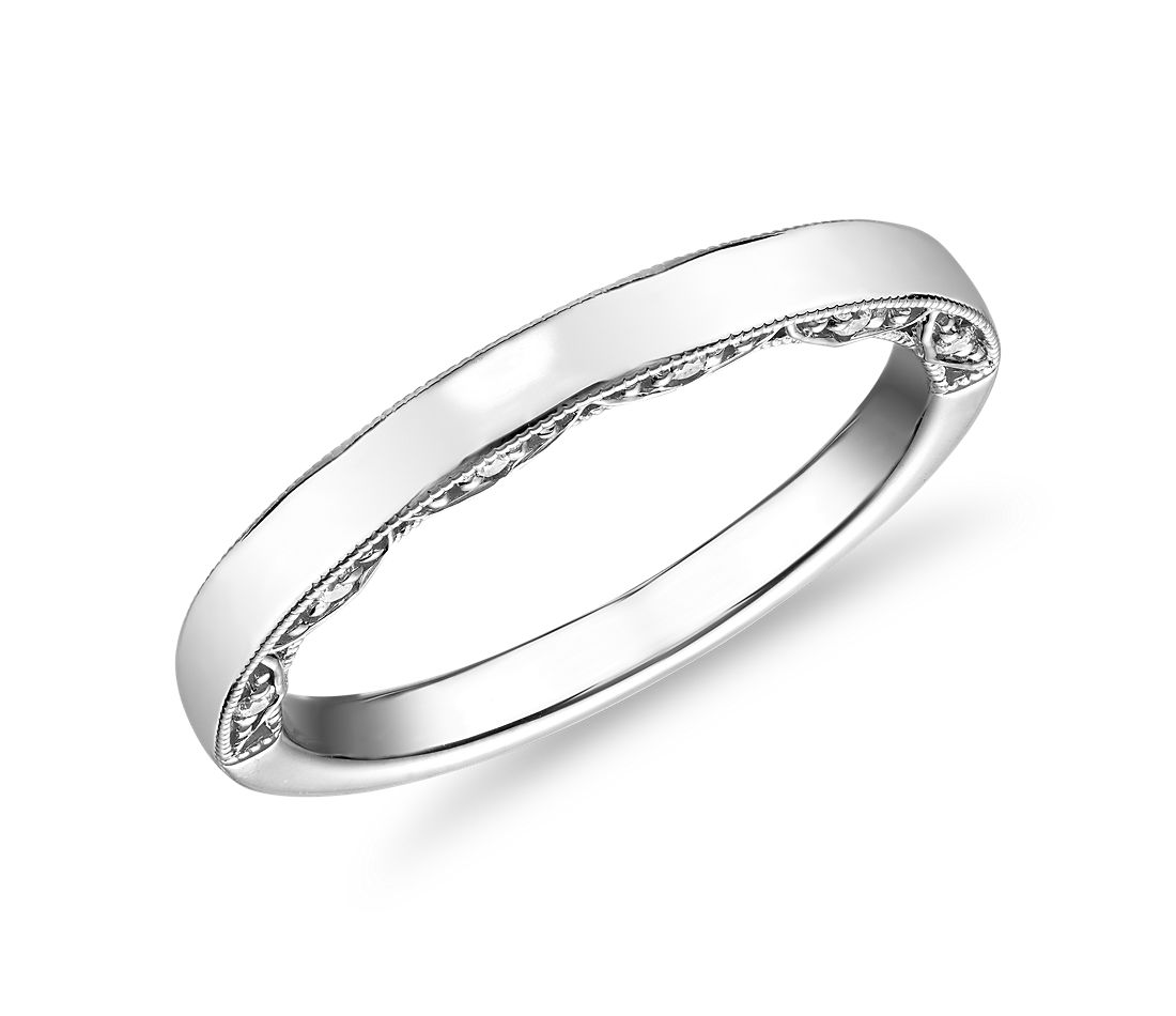 Alliance incurvée en diamants avec profil mille-grains en or blanc 14 carats