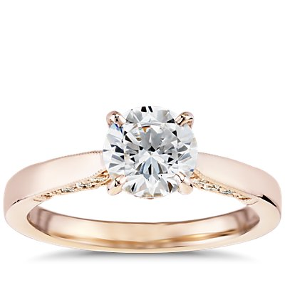 Diamond Pave and Milgrain Profile Solitaire Engagement Ring in 14k Rose Gold