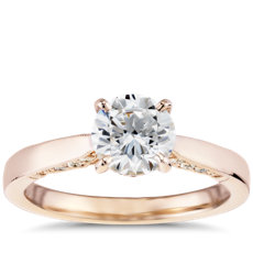 Diamond Pave and Milgrain Profile Solitaire Engagement Ring in 14k Rose Gold (0.17 ct. tw.)
