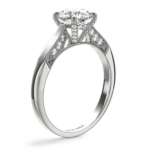 Diamond Pave and Milgrain Profile Solitaire Engagement Ring