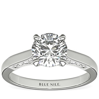 Diamond Pave and Milgrain Profile Solitaire Engagement Ring in 14k White Gold (1/6 ct. tw.)