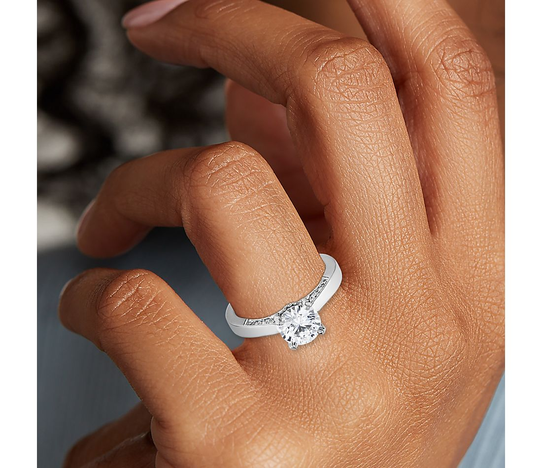 Diamond Pave and Milgrain Profile Solitaire Engagement Ring in 14k White Gold