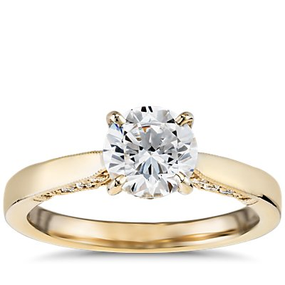 Diamond Pave and Milgrain Profile Solitaire Engagement Ring in 14k Yellow Gold (1/6 ct. tw.)
