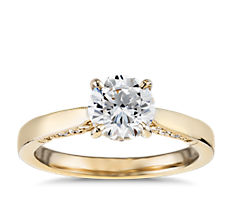 Diamond Pave and Milgrain Profile Solitaire Engagement Ring in 14k Yellow Gold