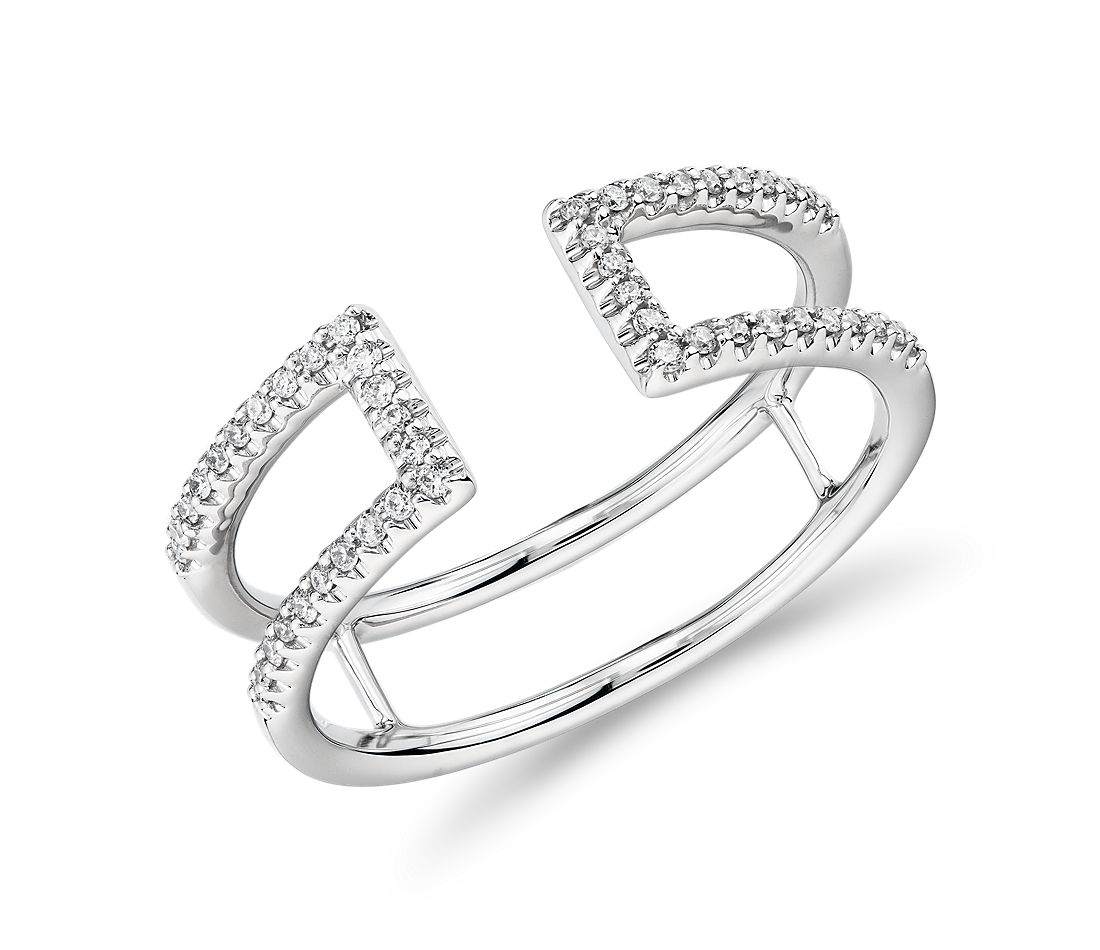 Diamond Pave Open Split Shank Fashion Ring in 14k White Gold (0.12 ct. tw.)