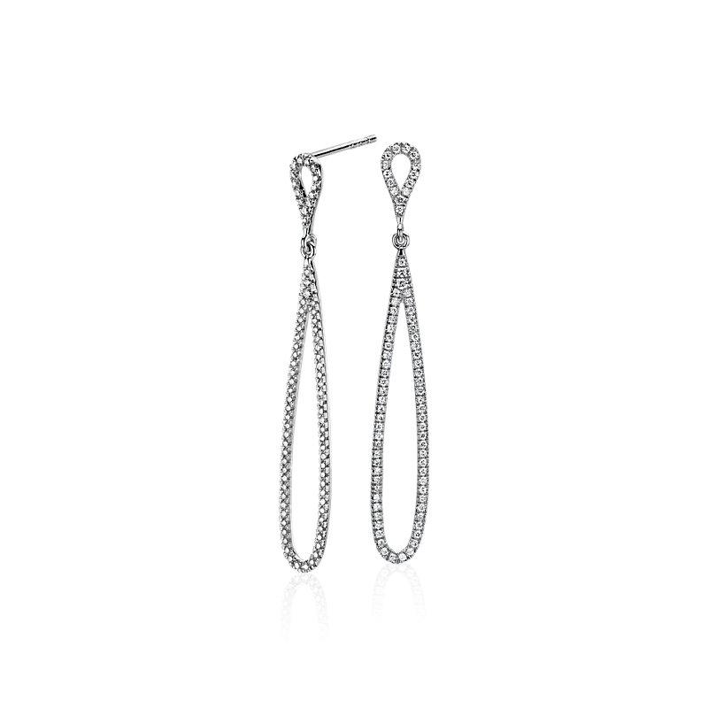 Pavé Diamond Open Teardrop Earrings in 14k White Gold (1/2