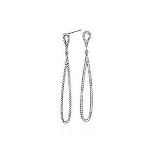 NOUVEAU Boucles d'oreilles gouttes ouvertes en diamants sertis pavé en or blanc 14carats (0,47carat, poids total)