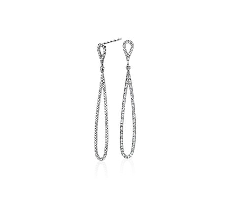 Pavé Diamond Open Teardrop Earrings in 14k White Gold (1/2 ct. tw.)