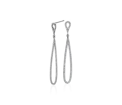 Pavé Diamond Open Teardrop Earrings in 14k White Gold