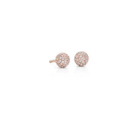 Puces d'oreilles avec diamants sertis pavé Lucille en or rose 14carats (3/8carats, poids total)