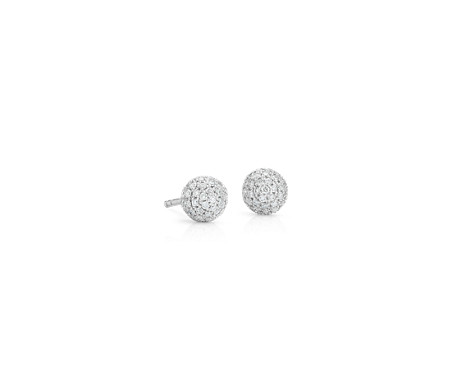 Lucille Diamond Pavé Stud Earring In 14k White Gold 3 8 Ct Tw