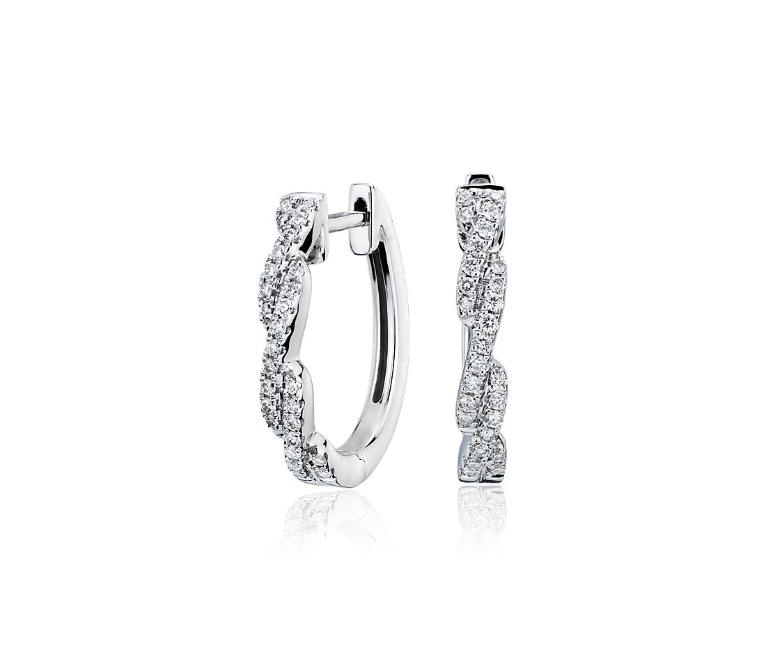 Diamond Pavé Twist Hoop Earrings in 14k White Gold (0.23 ct. tw.)