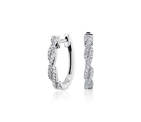 14k 白金扭纹圈形密钉钻石耳环<br>(1/4 克拉总重量)