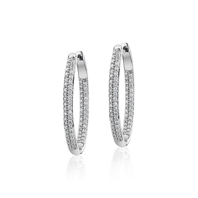 Diamond Pavé Two Row Oval Hoops in 14k White Gold (1 ct. t