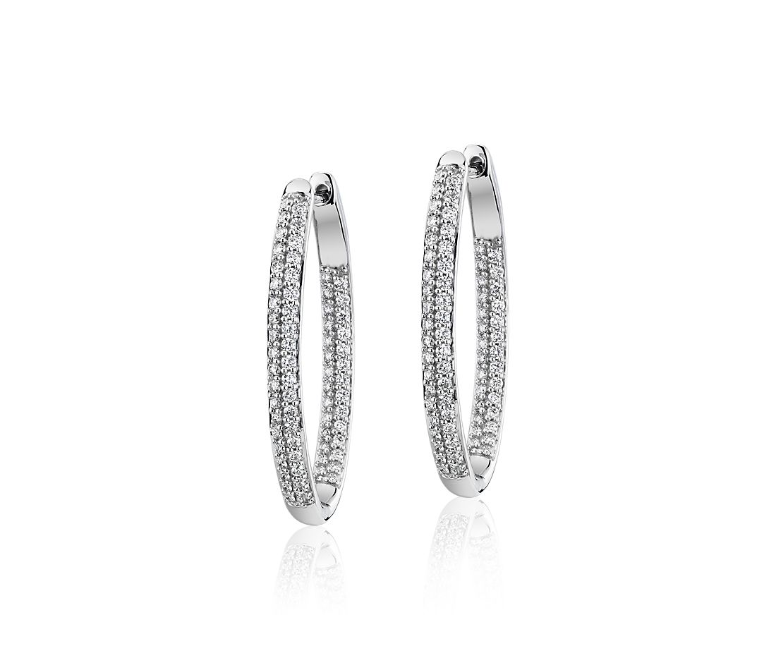 Diamond Pavé Two Row Oval Hoops in 14k White Gold (1 ct. tw.)