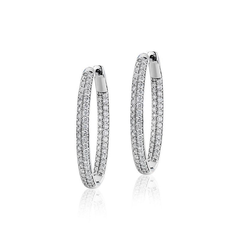 Diamond Pavé Two Row Oval Hoops in 14k White Gold (2 ct. t