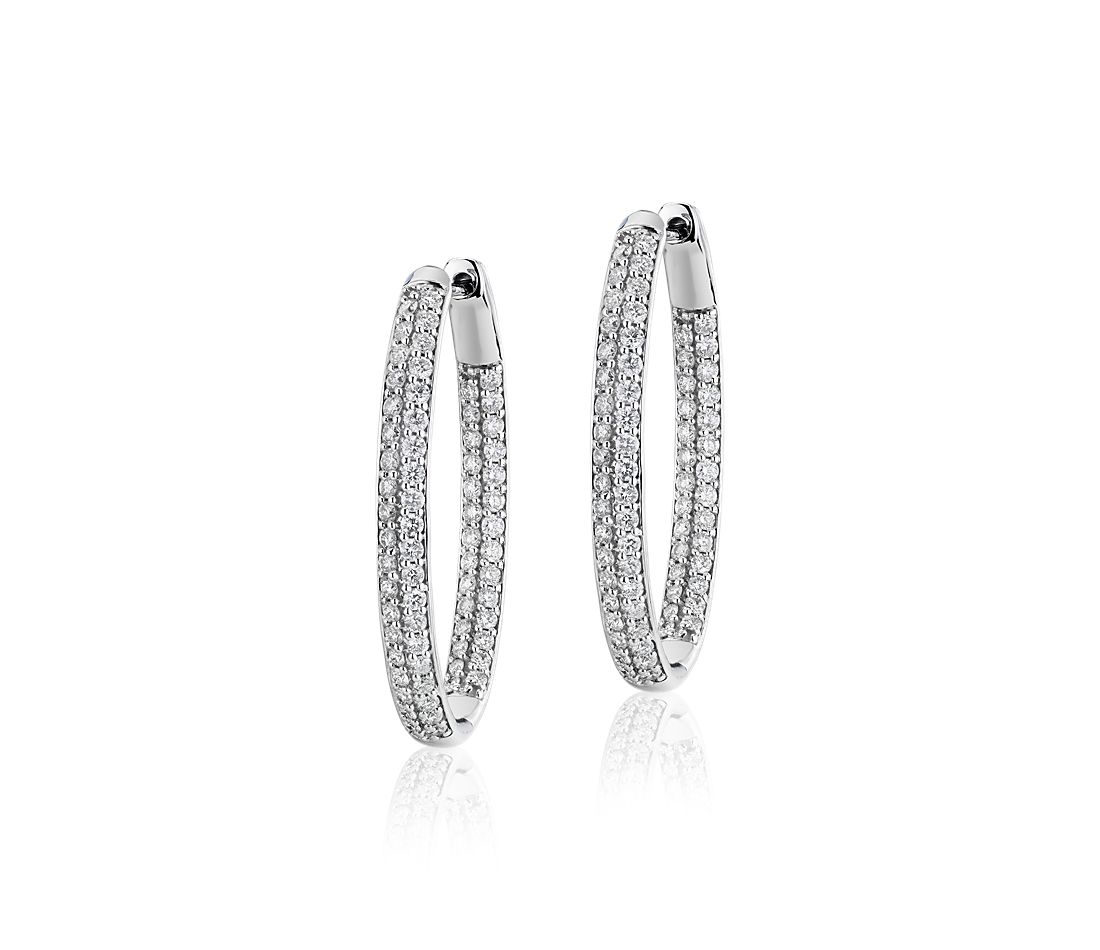 Diamond Pavé Two Row Oval Hoops in 14k White Gold (2 ct. tw.)