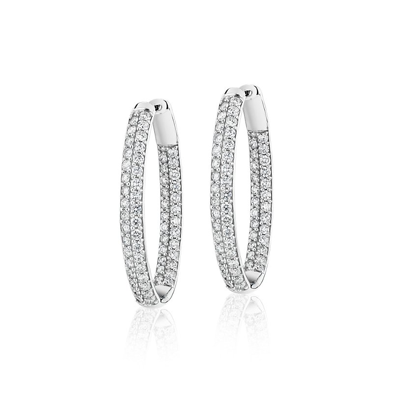 Diamond Pavé Two Row Oval Hoops in 14k White Gold (3 ct. t