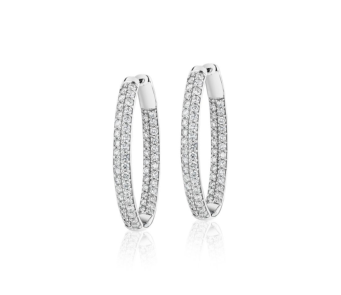 Diamond Pavé Two Row Oval Hoops in 14k White Gold (3 ct. tw.)
