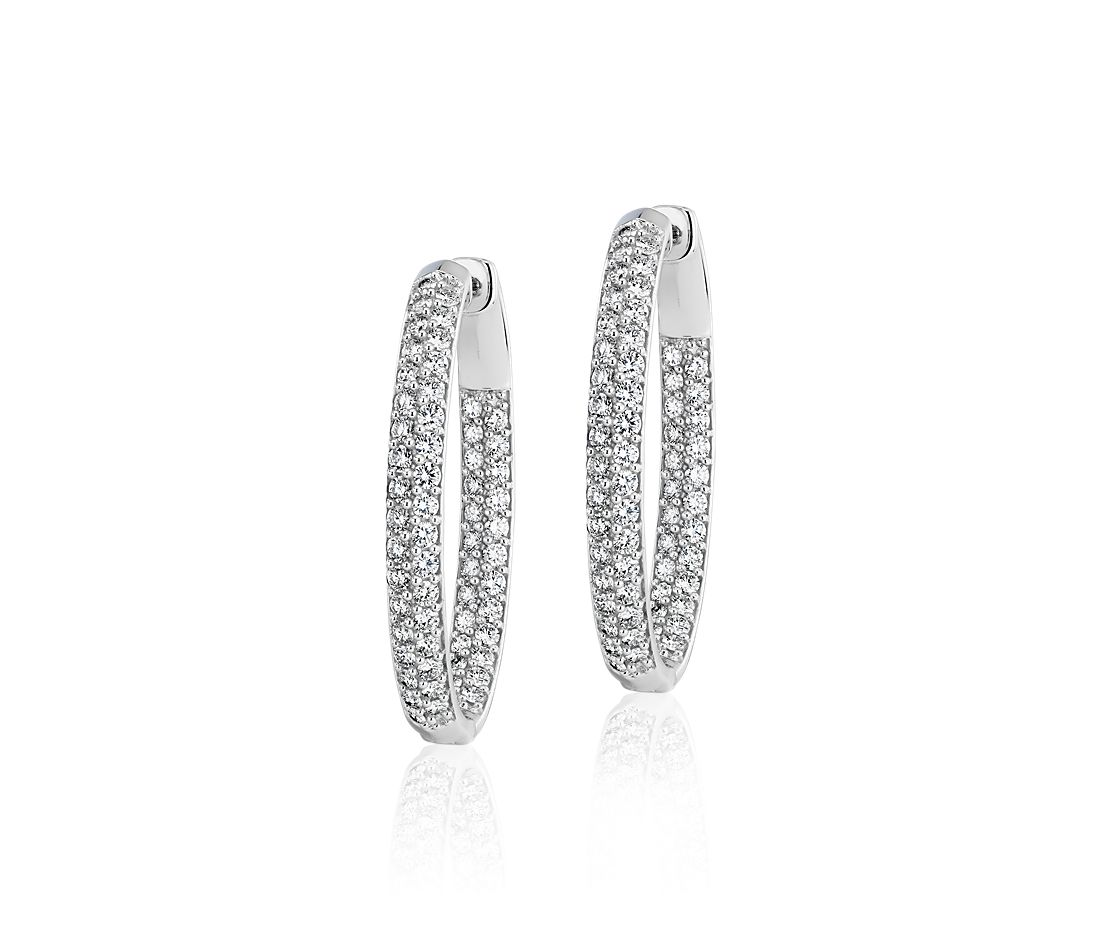Diamond Pavé Two Row Oval Hoops in 14k White Gold (4 ct. tw.)