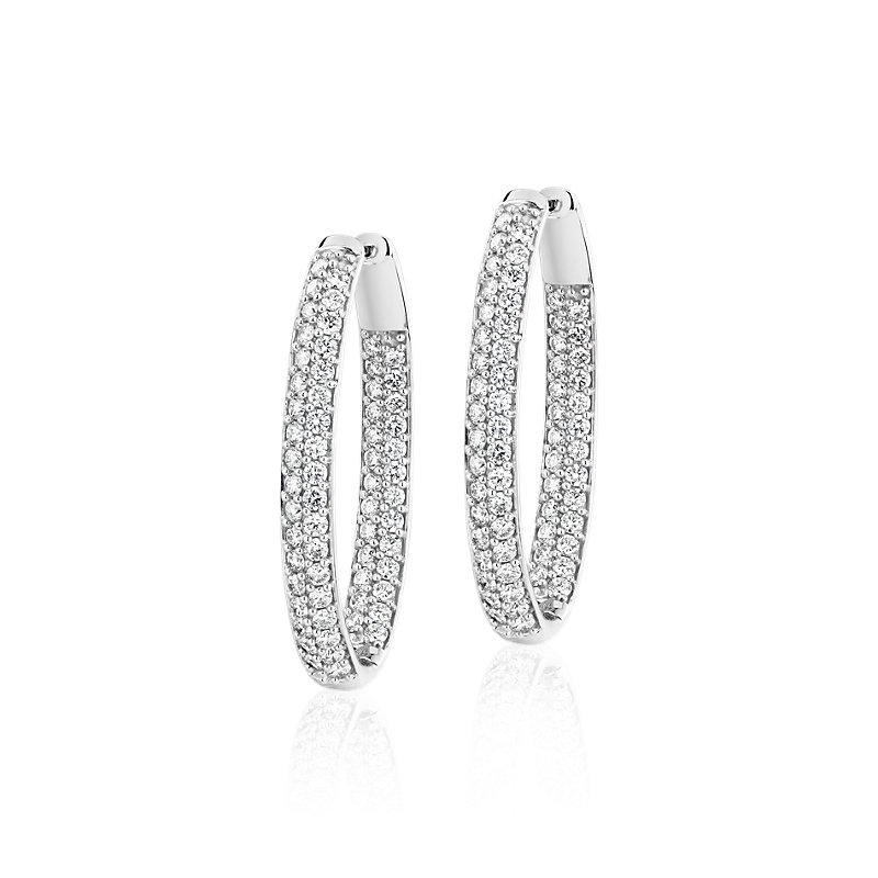 Diamond Pave Two Row Oval Hoops in 14k White Gold (5 ct. tw.)