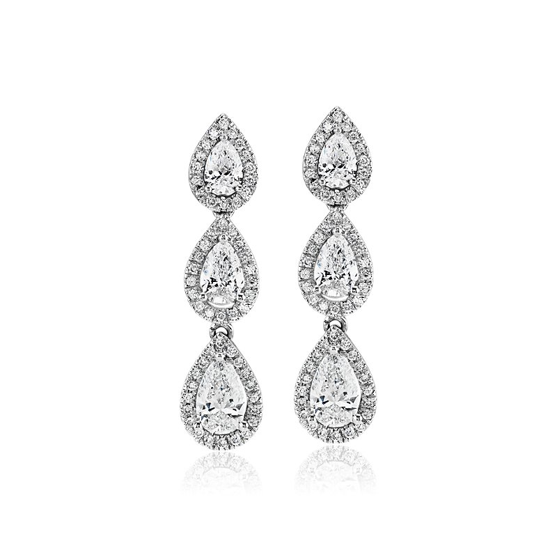 Pear Shape Diamond Halo Drop Earrings in 14k White Gold (1 5/8 ct