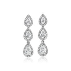 Pear Shape Diamond Halo Drop Earrings in 14k White Gold (1 5/8 ct. tw.)