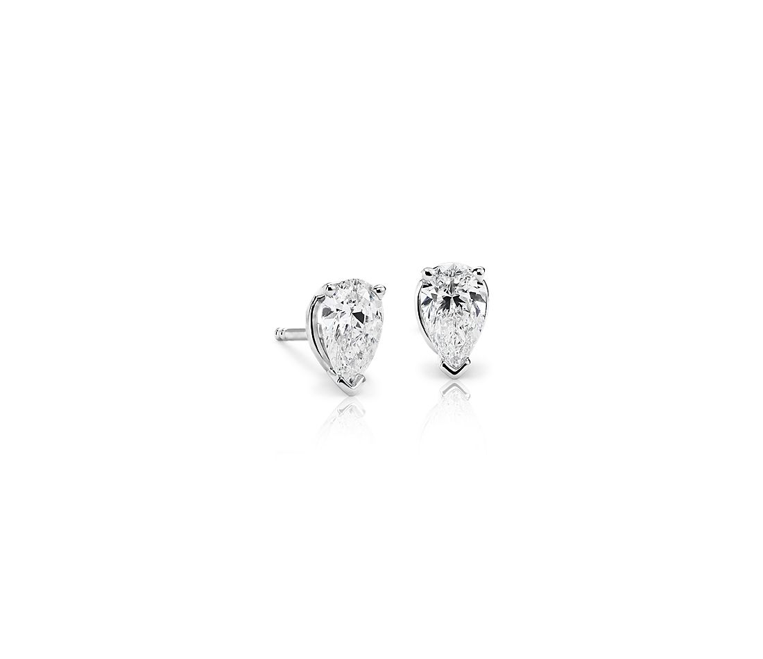 Pear Shape Diamond Stud Earrings In 18k White Gold 1 Ct Tw