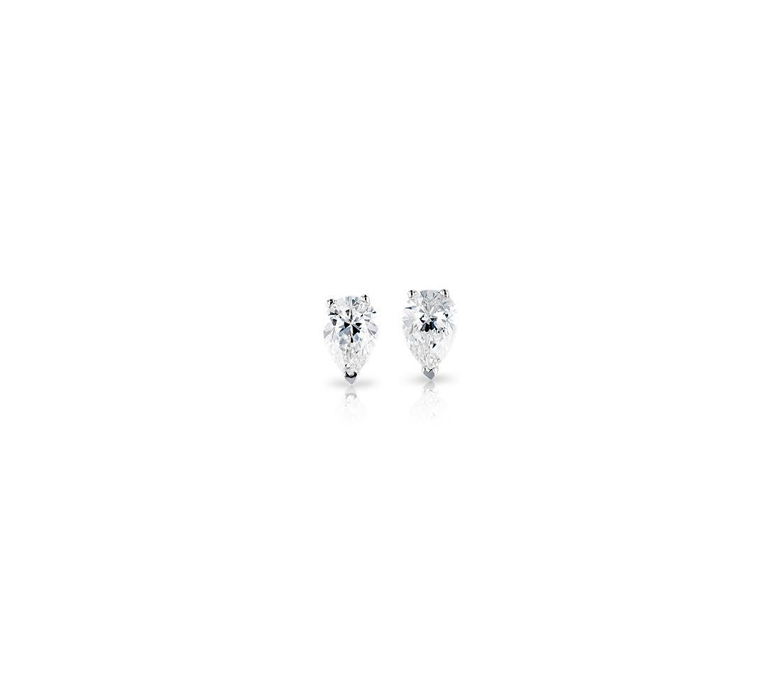 Pear Shape Diamond Stud Earrings in 18k White Gold (.47 ct. tw.)